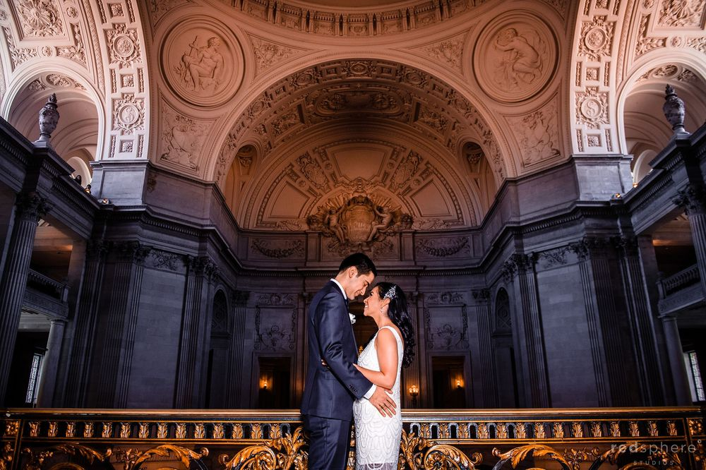 Bride and Groom Gaze Into Each Other's Eyes at San Francisco City Hall Wedding