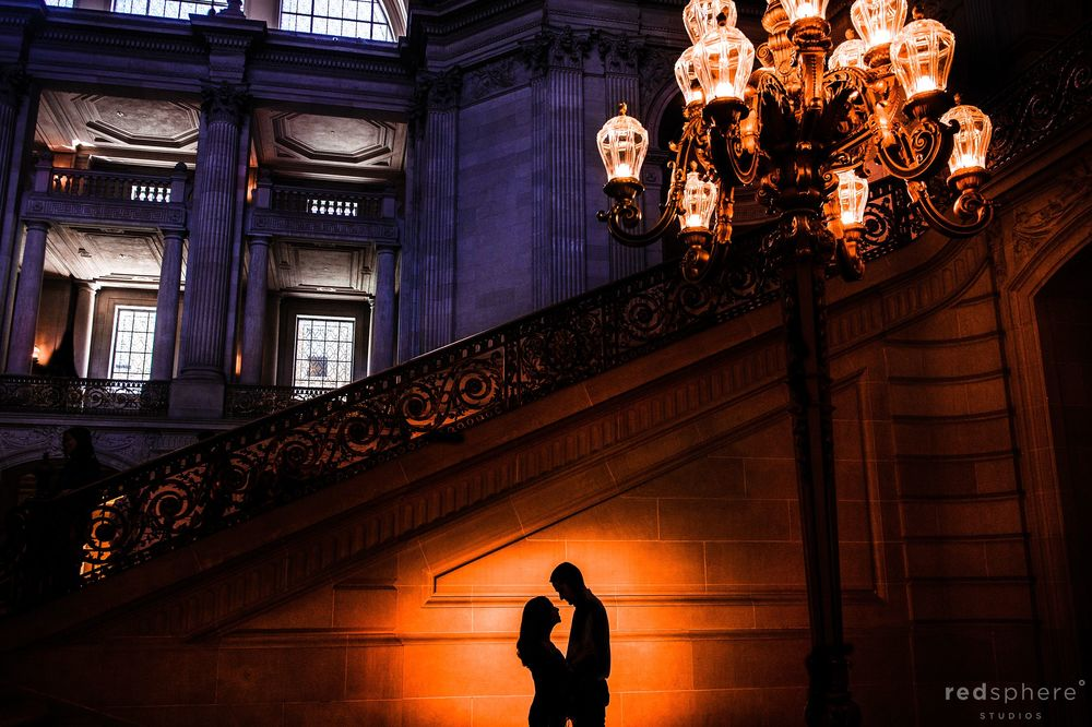 Bride and Groom Silhouette at San Francisco City Hall Wedding
