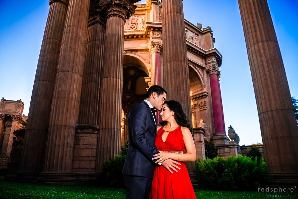 Jorge Places a Kiss on Daniella's Forehead San Francisco Palace of Fine Arts Engagement