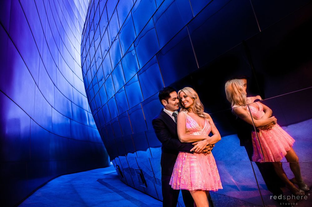 Engagement at Walt Disney Concert Hall Los Angeles, Pink Dress, Suit