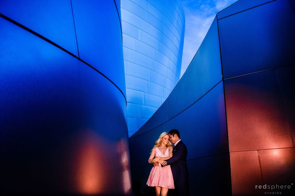 Walt Disney Concert Hall Los Angeles Engagement Session, Pink Dress, Suit