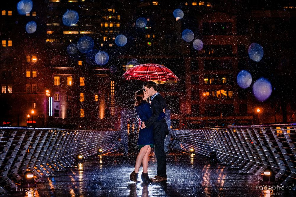 Pier 14 San Francisco Engagement Kiss in The Rain