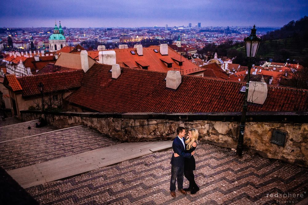 Old Town Prague Engagement on The Steps