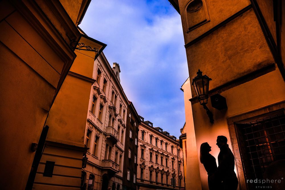 Couple Silhouette Engagement Photos at Old Town Prague, Prague
