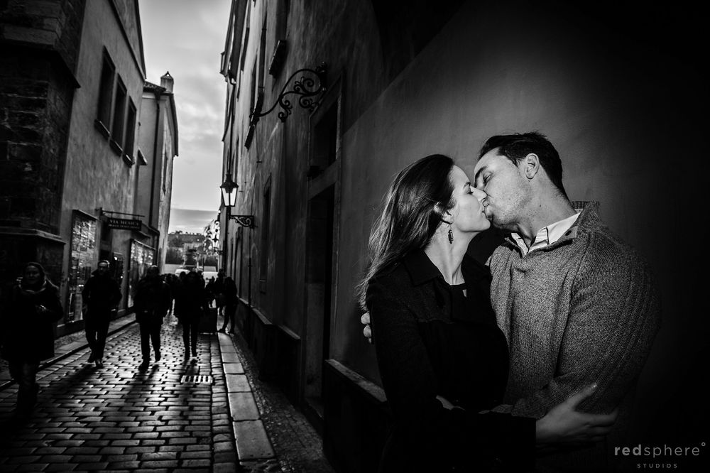 Couple Engagement Kiss at Old Town Prague B&W