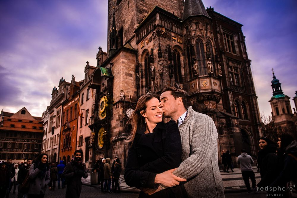 Couple Engagement at Astronomical Clock on the Old Town Square, Prague