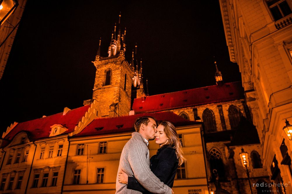 Couple Shares a Kiss at Prague Destination Engagement Session