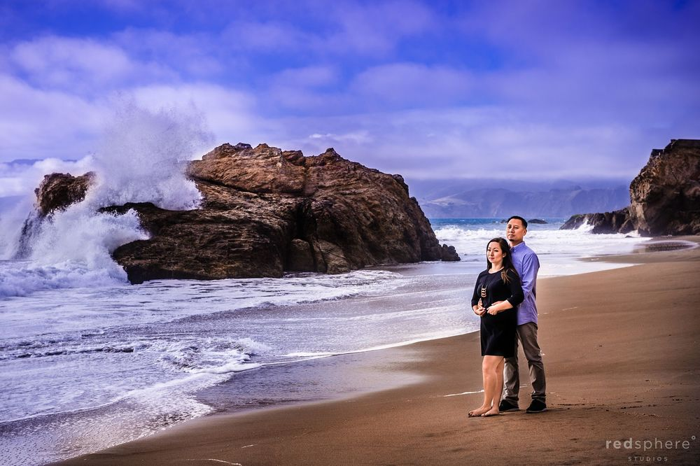 Waves Crash as Couple Embrace at Ocean Beach, San Francisco Multiple Location Engagement Sessions