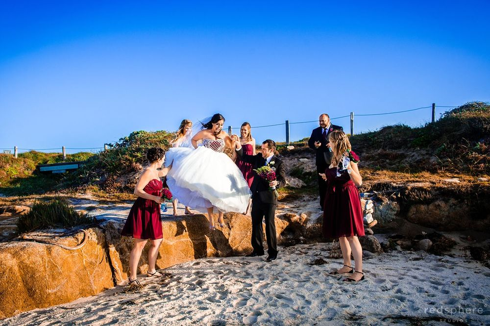 Bride and Groom Celebrate at Pebble Beach Along With Friends