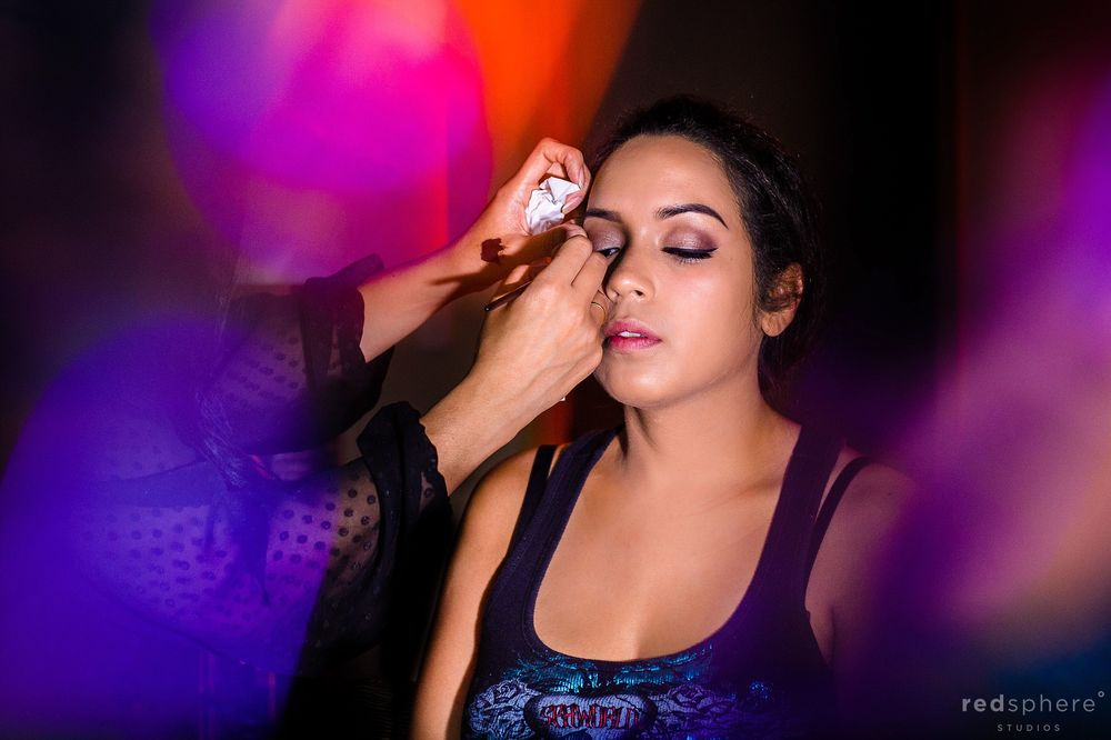 Bride Getting her Eyeshadow Done