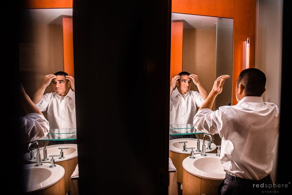 The Groom Fixing his Hair in the Bathroom, Mirror Reflection
