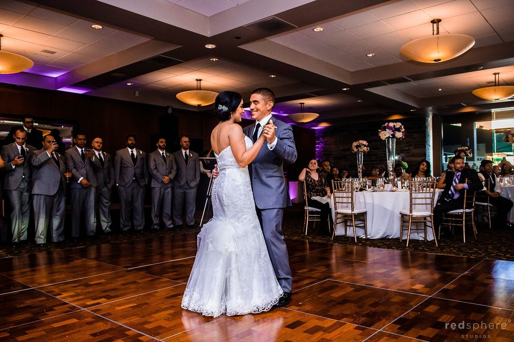 Bride and Groom Dance In the Middle of the Dance Floor Palo Alto Hills Golf Club