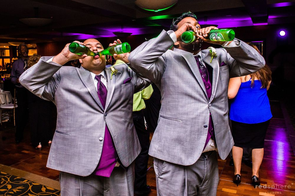 Groomsmen Drinking Beer at Wedding After Party, Palo Alto Hills Golf Club