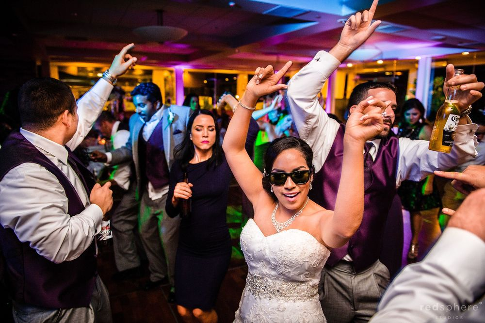 Bride Partying With Friends and Family at Palo Alto Hills Golf Club Wedding After Party