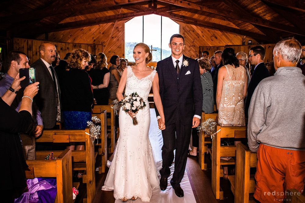 Bride and Groom Just Married at Chapel Islands, Saranac Lake, New York