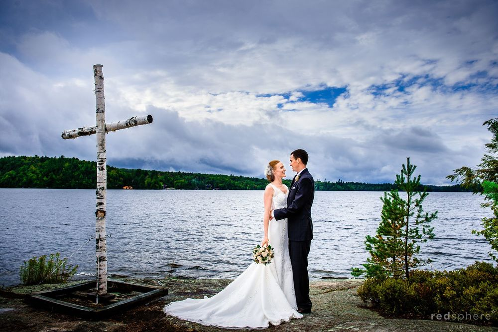 Bride and Groom at Saranac Lake, New York