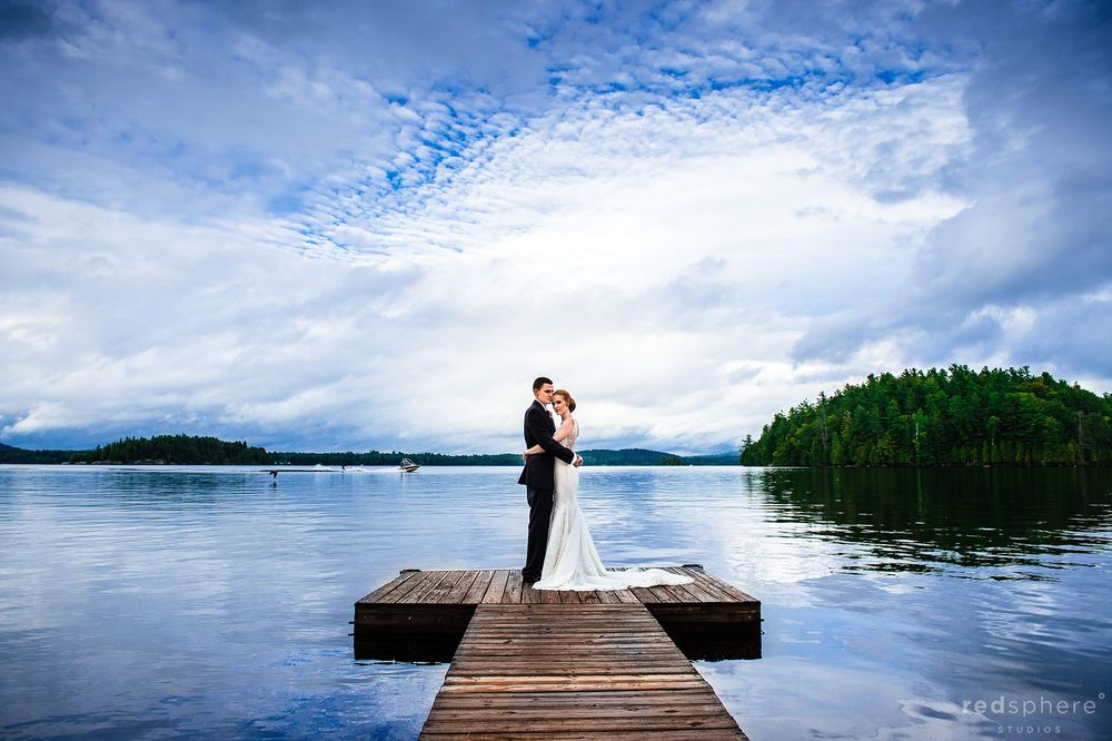 Bride and Groom on Saranac Lake Boat Dock