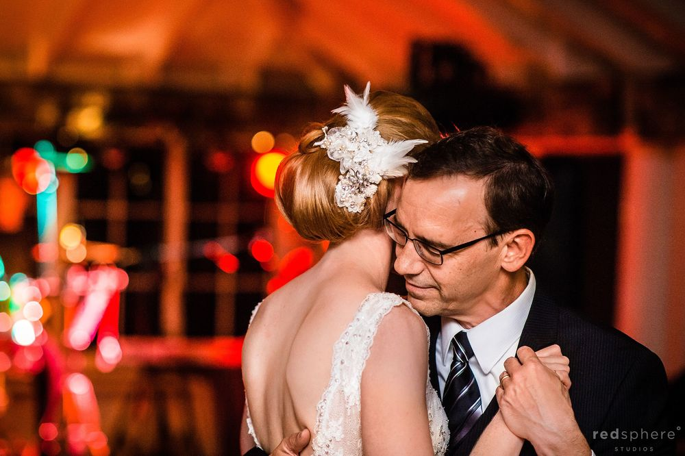 Bride Dances With Family Members at Wedding Reception, Bokeh