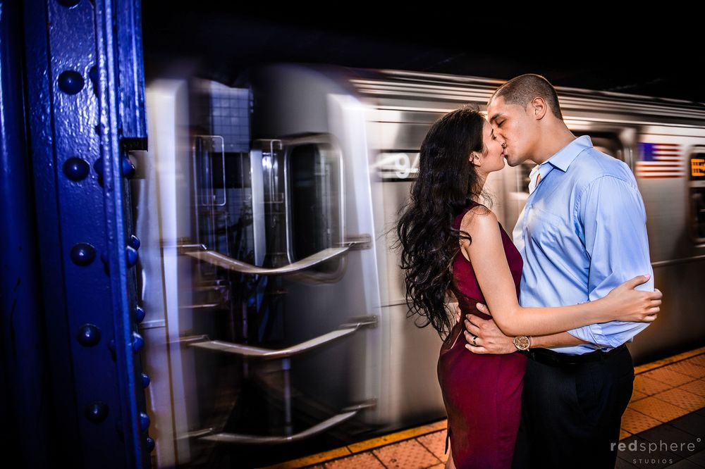 Subway Speeds Pass While Couple Kiss, NYC Engagement