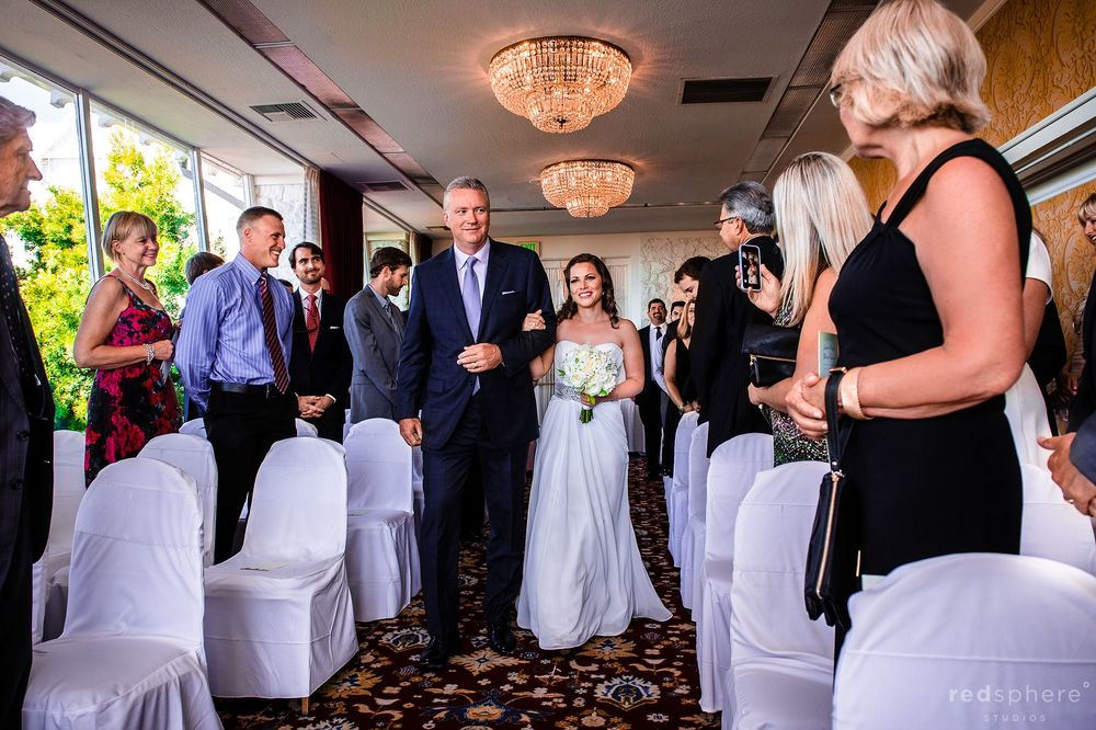 Father of Bride Walking his Daughter Down the Aisle at Claremont Hotel Club & Spa