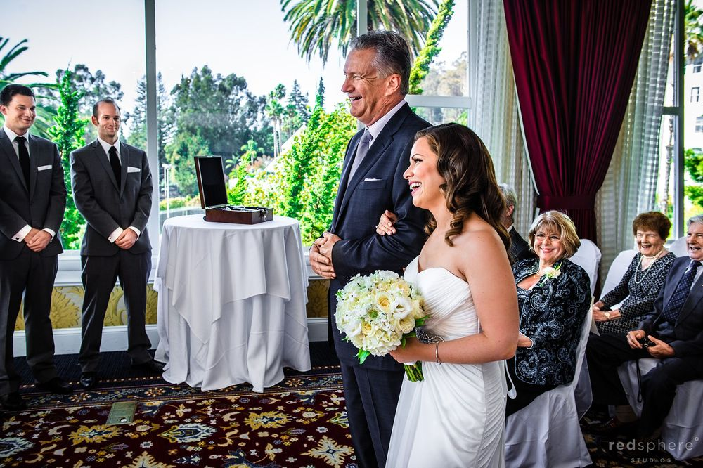 Bride and Father Walking to the Altar at Claremont Hotel Club & Spa Wedding