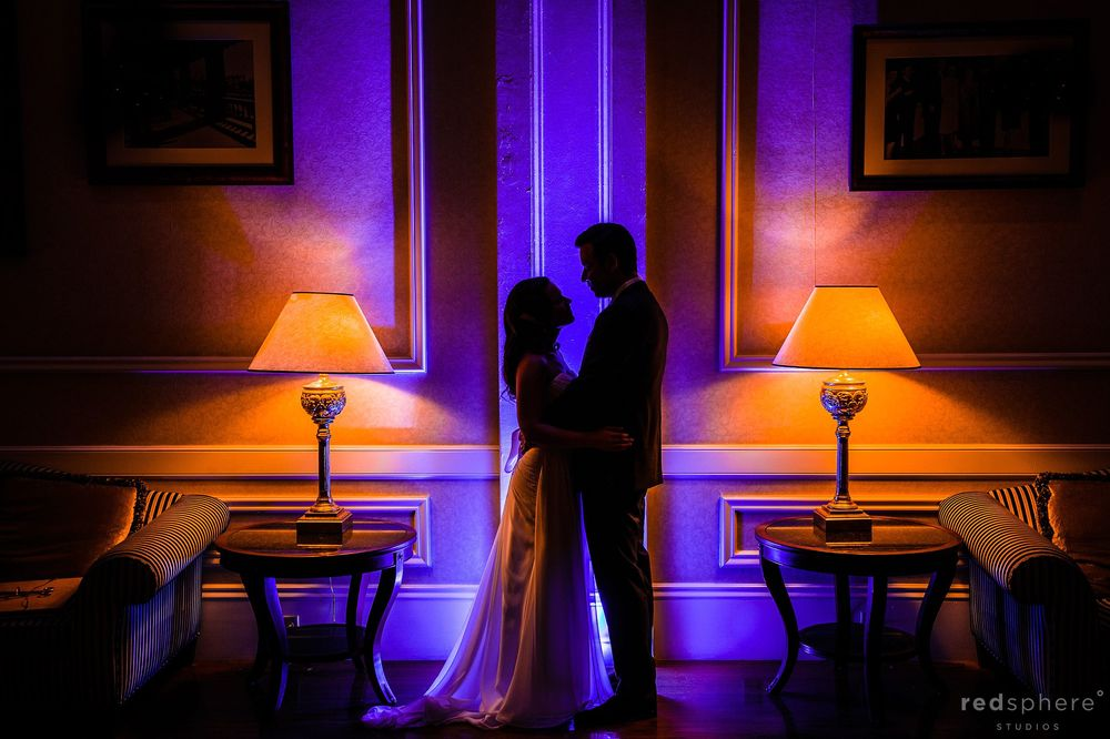 Bride and Groom Silhouette Between Two Table Lamps
