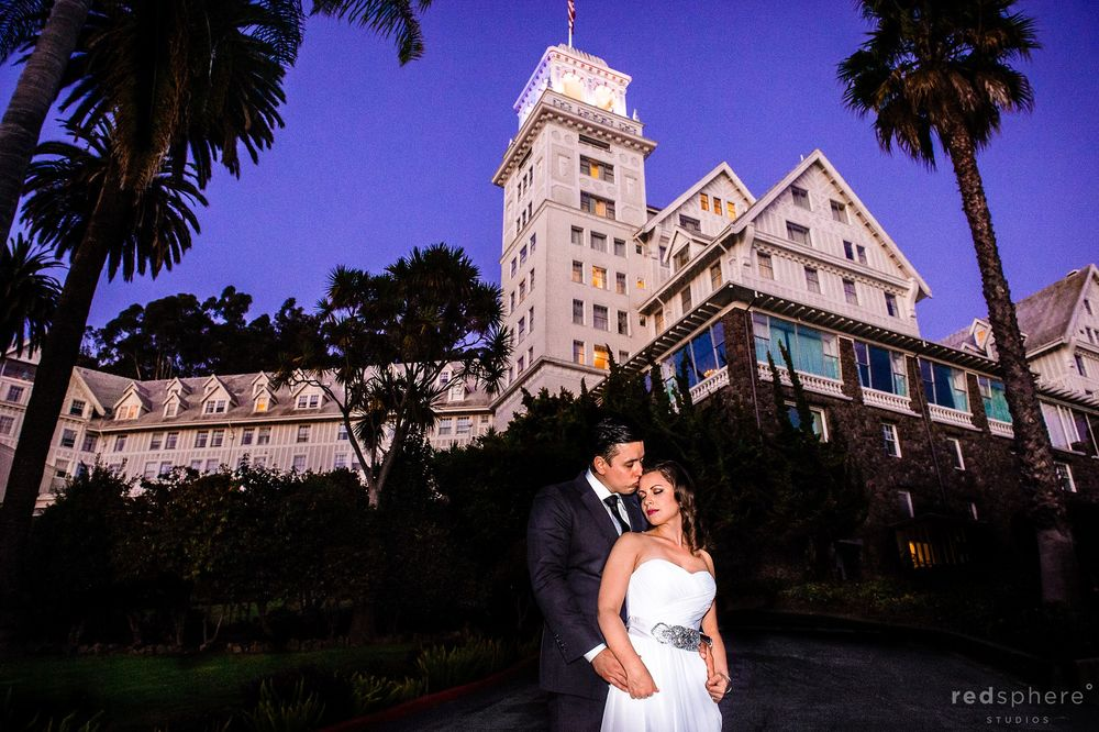 Bride and Groom in Front of Claremont Hotel Club & Spa