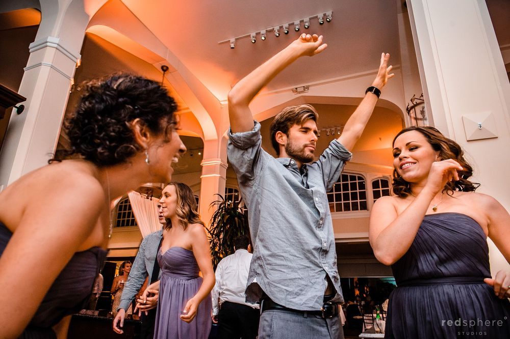 Family and Friends on the Dance Floor at Claremont Hotel Wedding Reception