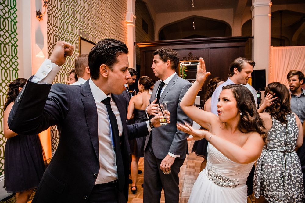 Bride and Groom Dancing with Guests at Claremont Hotel Wedding