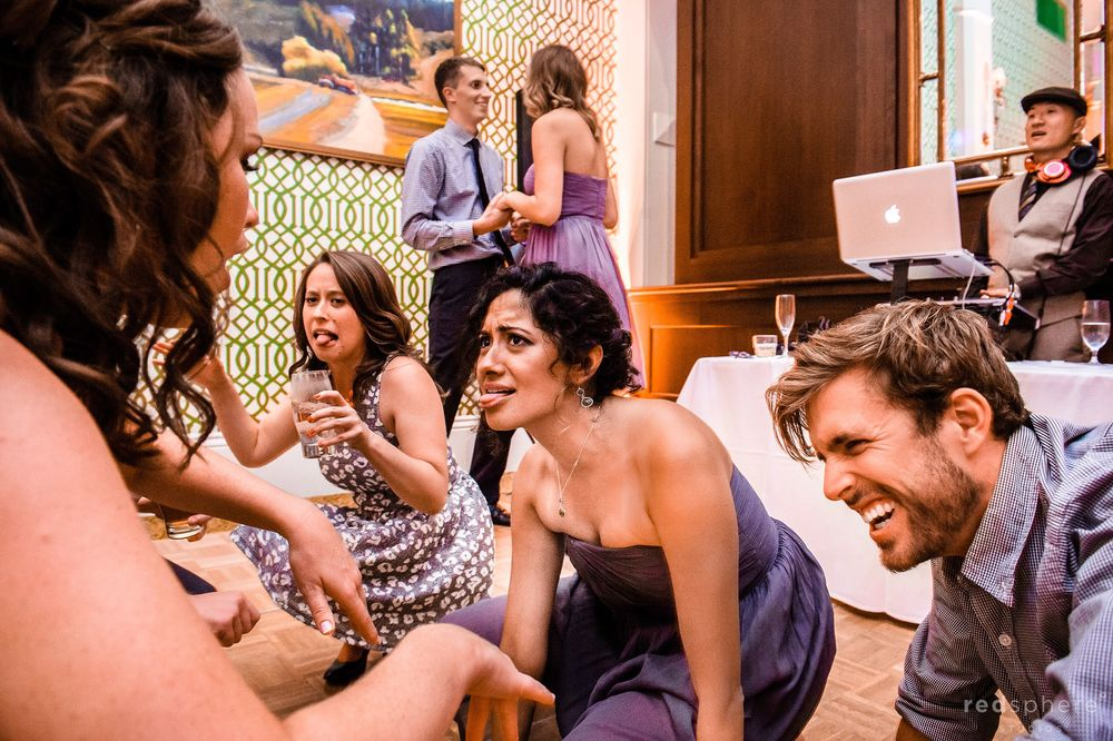 Guests Make Silly Faces and Laugh at Wedding Reception
