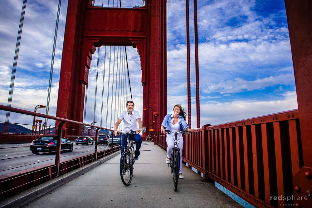 Couple Bike the Golden Gate Bridge for Engagement Pictures