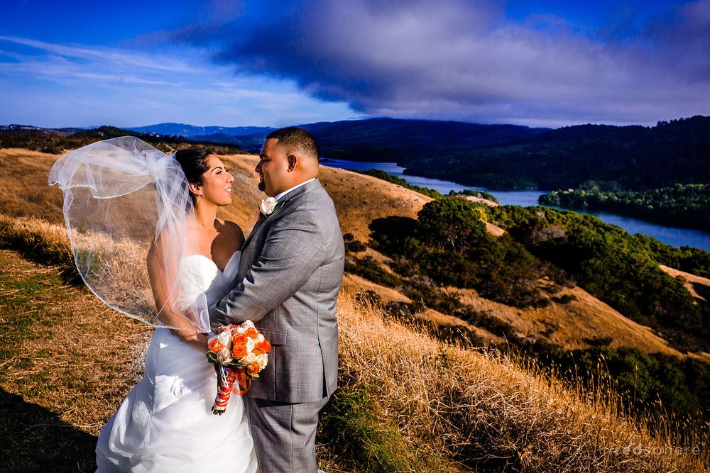 Bride and Groom Look Into Each Other Eyes at Crystal Springs Golf Course, Burlingame
