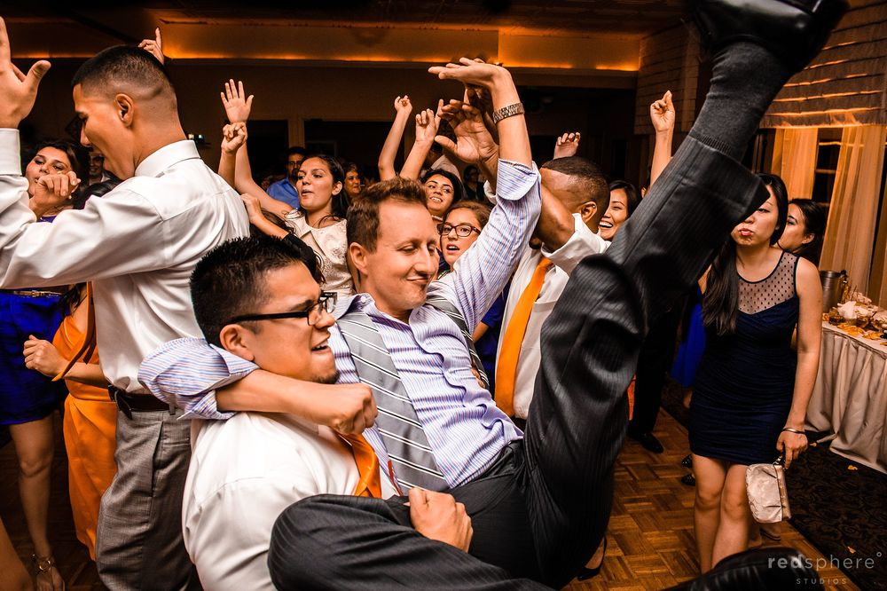 Groomsmen Dance at Crystal Springs Golf Course Wedding Reception