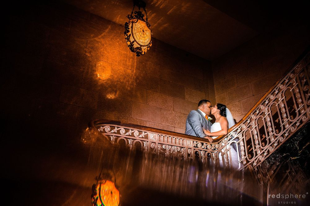 Bride and Groom Kiss at Burlingame Crystal Springs Golf Course Indoor