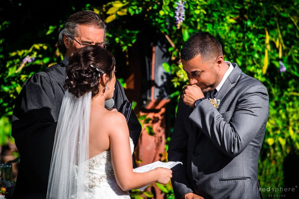 Groom Shedding Tear While Bride Says her Vows