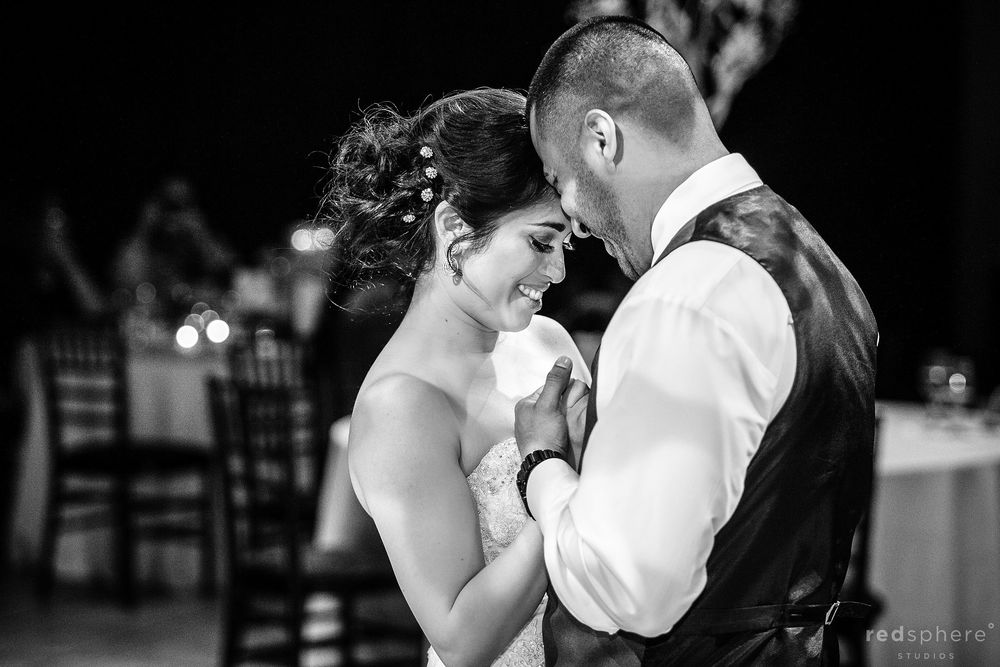 Bride and Groom Slow Dancing at Palm Event Center Wedding Reception, Black and White