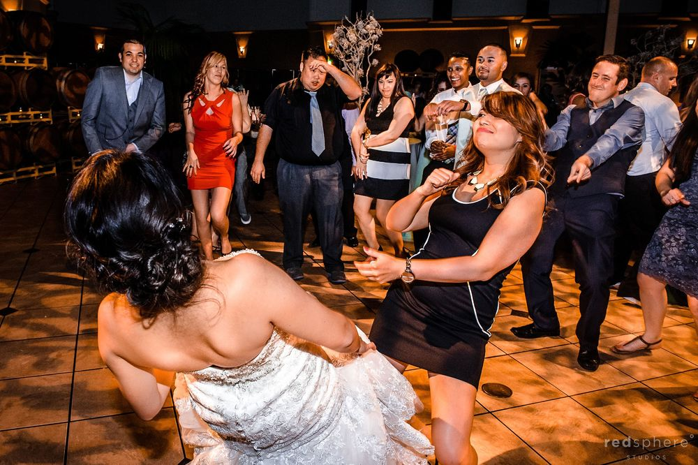 Bride and Friend Dancing at Palm Event Center, Pleasanton, CA