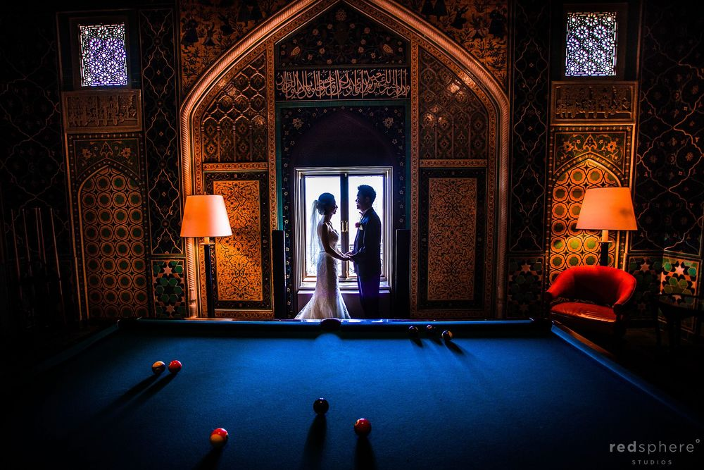 Bride and Groom Window Silhouette With Pool Table