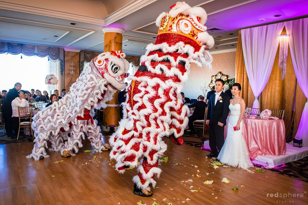 Lions Dance for Bride and Groom at Wedding Reception