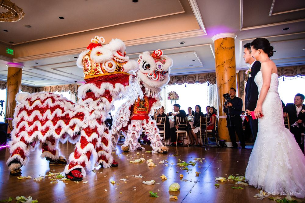 Guests and Newly Wed Couple Watch Lion Dance