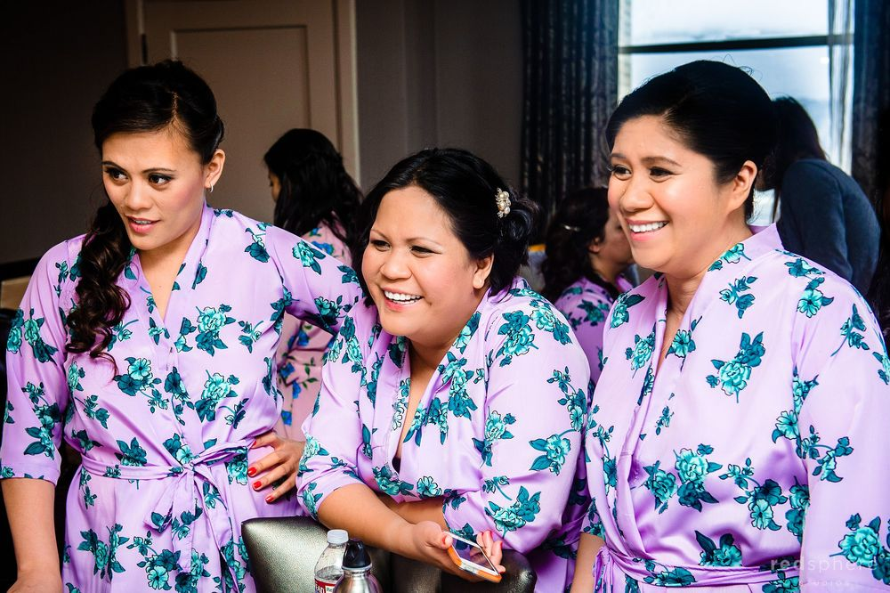 Bridesmaids' Prepping for Wedding, Matching Robes