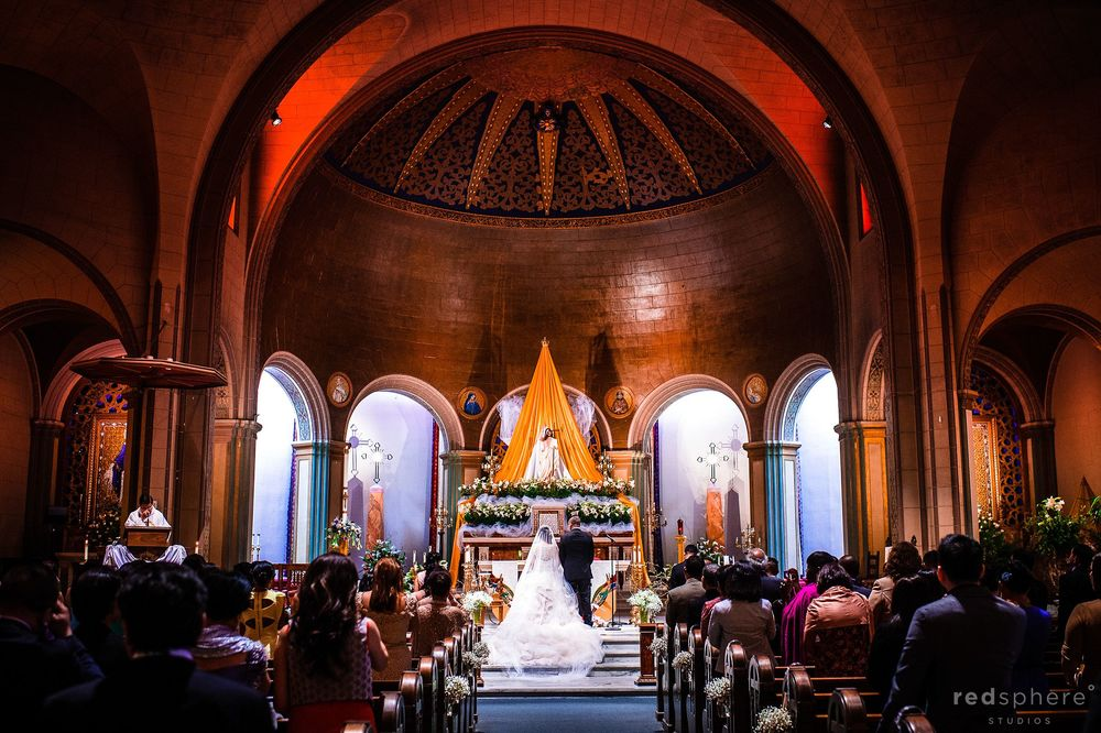 Bride and Groom at Mission Dolores Basilica San Francisco