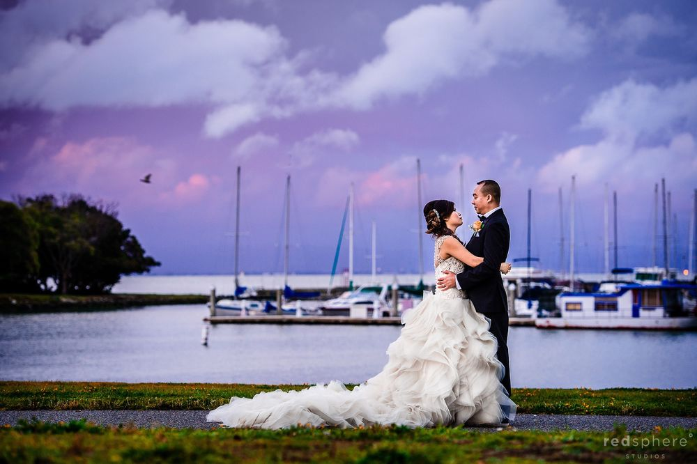 Bride and Groom With Sunset Backdrop at Oyster Point, South San Francisco