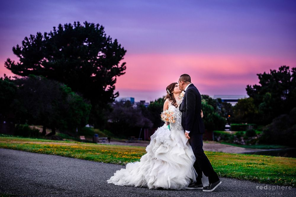 Fiery Sky as Bride and Groom Kiss
