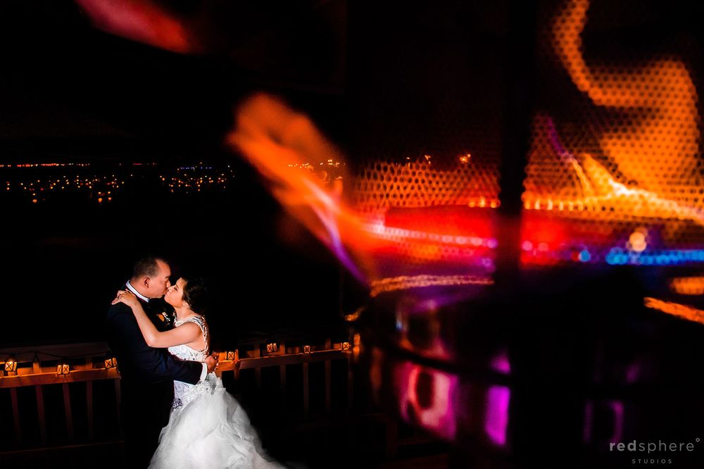 Bride and Groom Kiss, Multiple Exposure Shots