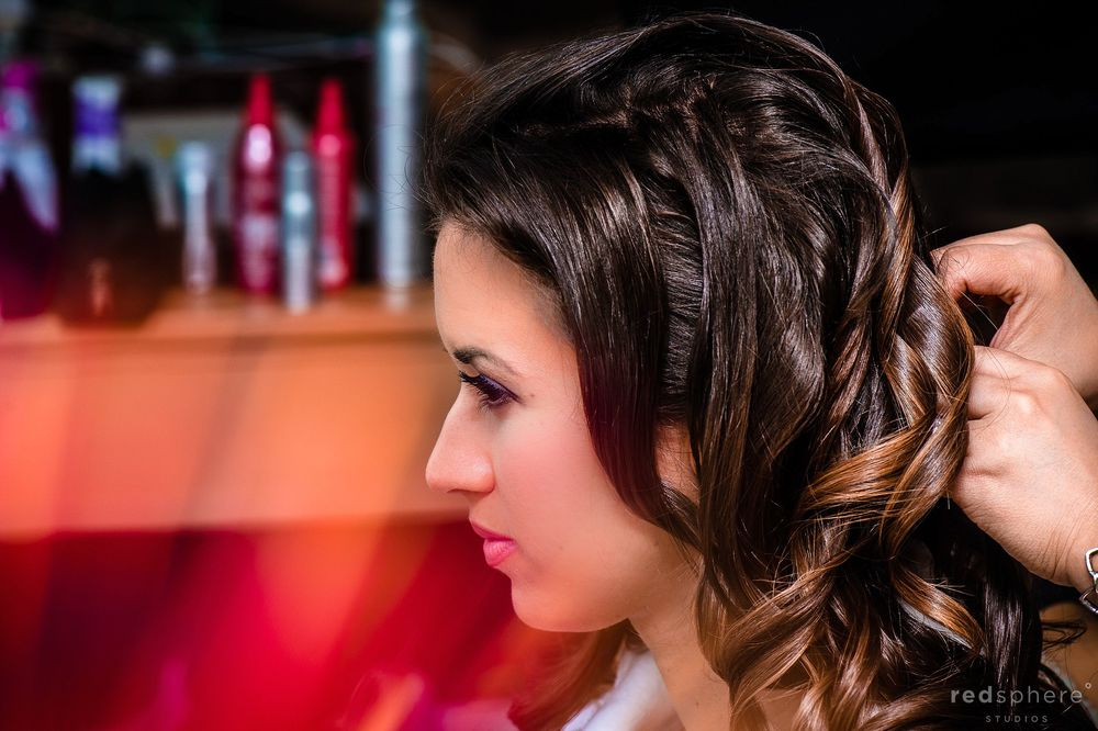 Fixing the Bride's Hair, Hair Spray and Red Flare