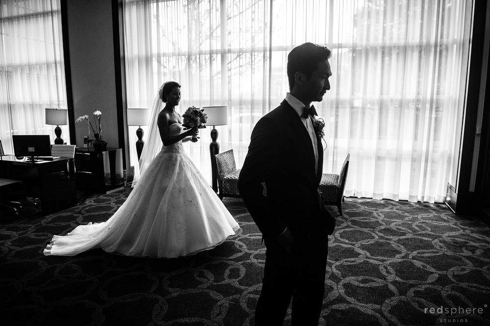 Bride and Groom Preparing For Ceremony in The Same Room, Black and White