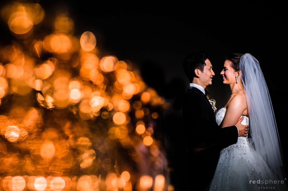 Bride and Groom Wedding Pictures Session, Orange Bokeh, Black Backdrop