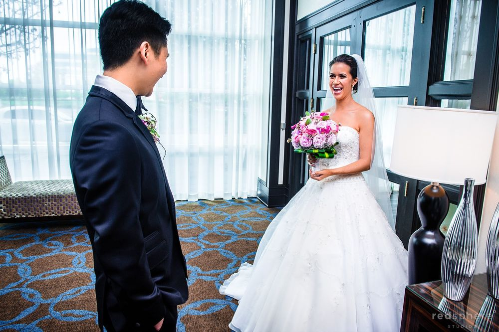 Groom Sees Bride in The Room