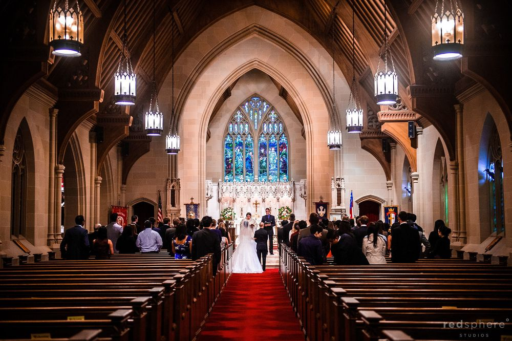 Bride Walking Down the Aisle, Cathedral Wedding Ceremony